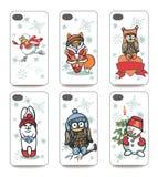 Cubierta del teléfono móvil detrás fijada Animales divertidos del invierno Fotos de archivo libres de regalías
