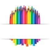 Cubierta del vector con los lápices coloreados Imágenes de archivo libres de regalías