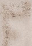 Cubierta drenada mano de la tarjeta del menú de la vendimia Imagen de archivo libre de regalías