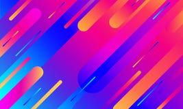 Cubierta geométrica Composición colorida de las rayas de la pendiente Color azul de neón moderno fresco Formas flúidas abstractas ilustración del vector