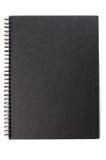 Cubierta negra del cuaderno Imagen de archivo libre de regalías