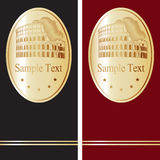 Cubierta para el folleto, aviador, folleto Tema del recorrido Oro y rojo Oro y negro roma Foto de archivo libre de regalías