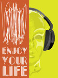 Cubierta para la música del concepto Un vector abstracto para la música que escucha del hombre con los auriculares Imágenes de archivo libres de regalías