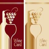 Cubierta para la tarjeta del vino Oro y rojo Imágenes de archivo libres de regalías