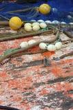 Cubierta profesional de madera del barco de la red de los trastos de Fishemen Fotografía de archivo