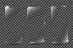 Cubierta realista del película del protector de la pantalla del vector o de cristal Vidrio del protector de la pantalla Imágenes de archivo libres de regalías