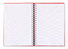 Cubierta roja del cuaderno abierto Imagen de archivo