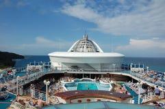 Cubierta superior del barco de cruceros Fotos de archivo libres de regalías