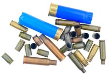 Cubiertas de la bala en un blanco fotografía de archivo libre de regalías