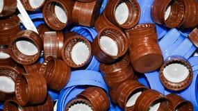 Cubiertas de las botellas imagen de archivo