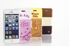 Cubiertas del teléfono celular de Colorfull y teléfono móvil fotografía de archivo