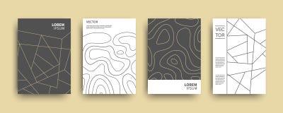 Cubiertas geométricas de la topografía abstracta moderna fijadas ilustración del vector