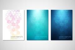 Cubiertas o folleto del vector para la medicina, la ciencia y la tecnología digital Fondo abstracto geométrico con hexágonos ilustración del vector