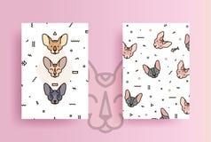 Cubiertas para el teléfono con los gatos y las formas geométricas stock de ilustración