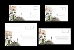 Cubiertas para los sobres del estándar internacional DLE/65, C6, C5, C6C5, con la imagen de una bicicleta de la ciudad foto de archivo libre de regalías