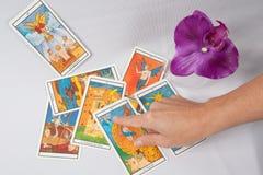 Cubiertas y orquídea del tarot de Marsella Foto de archivo libre de regalías