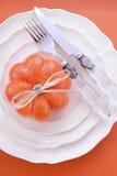 Cubierto anaranjado de la tabla de la acción de gracias de Halloween del tema Fotografía de archivo