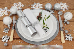 Cubierto de la cena de la Navidad Fotos de archivo