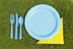 Cubierto de la comida campestre Fotos de archivo libres de regalías
