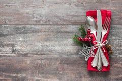 Cubierto de la tabla de la Navidad Fotografía de archivo libre de regalías