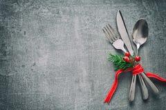 Cubierto de la tabla de la Navidad fotos de archivo libres de regalías