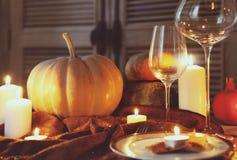 Cubierto del otoño Cena de la acción de gracias Foto de archivo libre de regalías