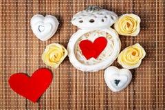 Cubierto para el día de tarjeta del día de San Valentín Imagen de archivo libre de regalías