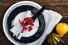 Cubierto rústico con las bayas rojas, visión superior, Thanksgi del otoño Imagenes de archivo