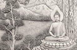 Cubiertos Buda en la pared Fotos de archivo libres de regalías