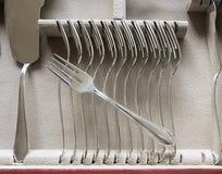 cubiertos de los pescados de plata, detalle del sistema de la bifurcación Fotos de archivo libres de regalías