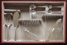 Cubiertos de los pescados de plata en caso de que Fotos de archivo