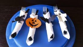 Cubiertos para Halloween Imagen de archivo libre de regalías