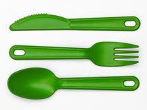 Cubiertos plásticos 02 - verde Fotografía de archivo libre de regalías