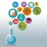 Cubilete de cristal para el laboratorio con conocimiento del academic de los iconos de las burbujas Imagen de archivo libre de regalías