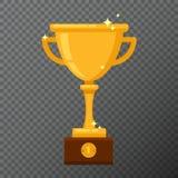 Cubilete de oro del campeón en fondo Vector el ejemplo con la taza del premio hecha en diseño plano simple Imágenes de archivo libres de regalías