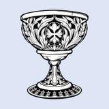Cubilete decorativo Arte gótico medieval del concepto del estilo Elemento del diseño Negro un dibujo blanco del nd aislado en gri libre illustration