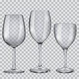 Cubiletes de cristal vacíos transparentes para el vino Fotos de archivo libres de regalías