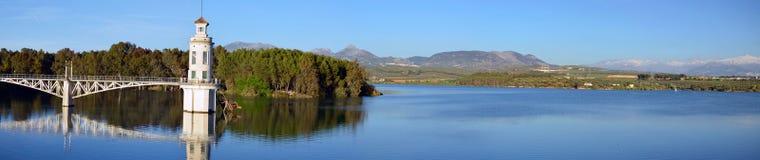 Cubillas水库全景在格拉纳达ptovance的和 免版税库存图片