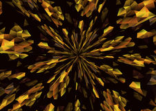 Cubism background radiation Black and gold Stock Photo