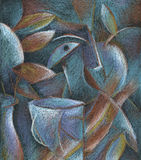 Cubism pastel painting abstract art royalty free stock images