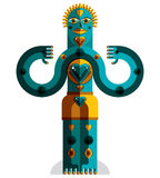 Cubism theme vector graphic illustration, modernistic symbol. Ge. Ometric cartoon character, mythic creature or shaman. Colorful drawing of  pagan idol Stock Photography