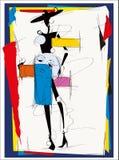 Cubisme de fille de mode illustration stock
