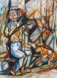 Cubisme. Le vieil homme avec un chien illustration stock