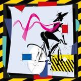 Cubismfashions-Mädchen durch Fahrrad Lizenzfreies Stockfoto