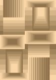 Cubist background composed from rectangles with optical 3d effect, low contrasting beige and light brown design. Vector EPS 10 Stock Image