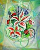 Cubist-Blumen-Bildschirmanzeige Lizenzfreie Stockfotos