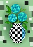 Cubist bouquet with blue flowers in checker decorated vase , 3d effect optical illusion, decoration on green background. Cubist bouquet with orange flowers, 3d vector illustration