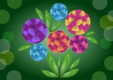 Cubist bouquet with colorful flowers, 3d effect optical illusion, decoration on dark green background, nice spring or summer illus. Tration, vector EPS 10 stock illustration