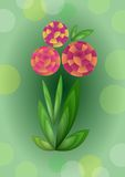 Cubist bouquet with orange flowers, 3d effect optical illusion, decoration on green background, nice spring or summer illustration. Vector EPS 10 vector illustration