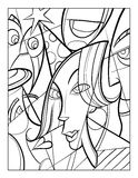 Cubist faces fun coloring page vector illustration